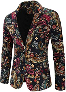 Men's One Button Floral Blazer Slim Fit Peak Lapel Tuxedos Jacket Prom Party Coat Performence Blazer for Men