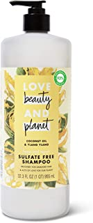 Love Beauty And Planet Hope and Hair Repair Sulfato - Champú libre para puntas abiertas y aceite de coco y Ylang Ylang Ylang Hair Repair, tratamiento para cabello dañado 32.3 oz