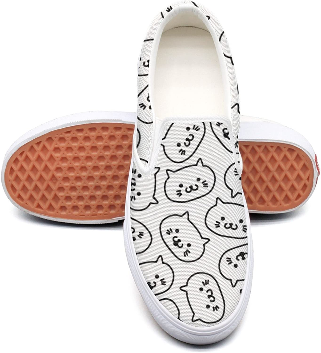 Cat Kitten Face Womens Flat Canvas Lace Up Dhoes Low Top Classic Cloth shoes For Women