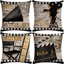 ULOVE LOVE YOURSELF Movie Theater Throw Pillow Covers Vintage Cinema Poster Design Cushion Cover with Old Fashioned Icons ...