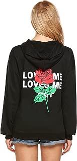 Wome's Pullover Hoodie Sweater Casual Floral Print Long Sleeve Sweatshirt Top