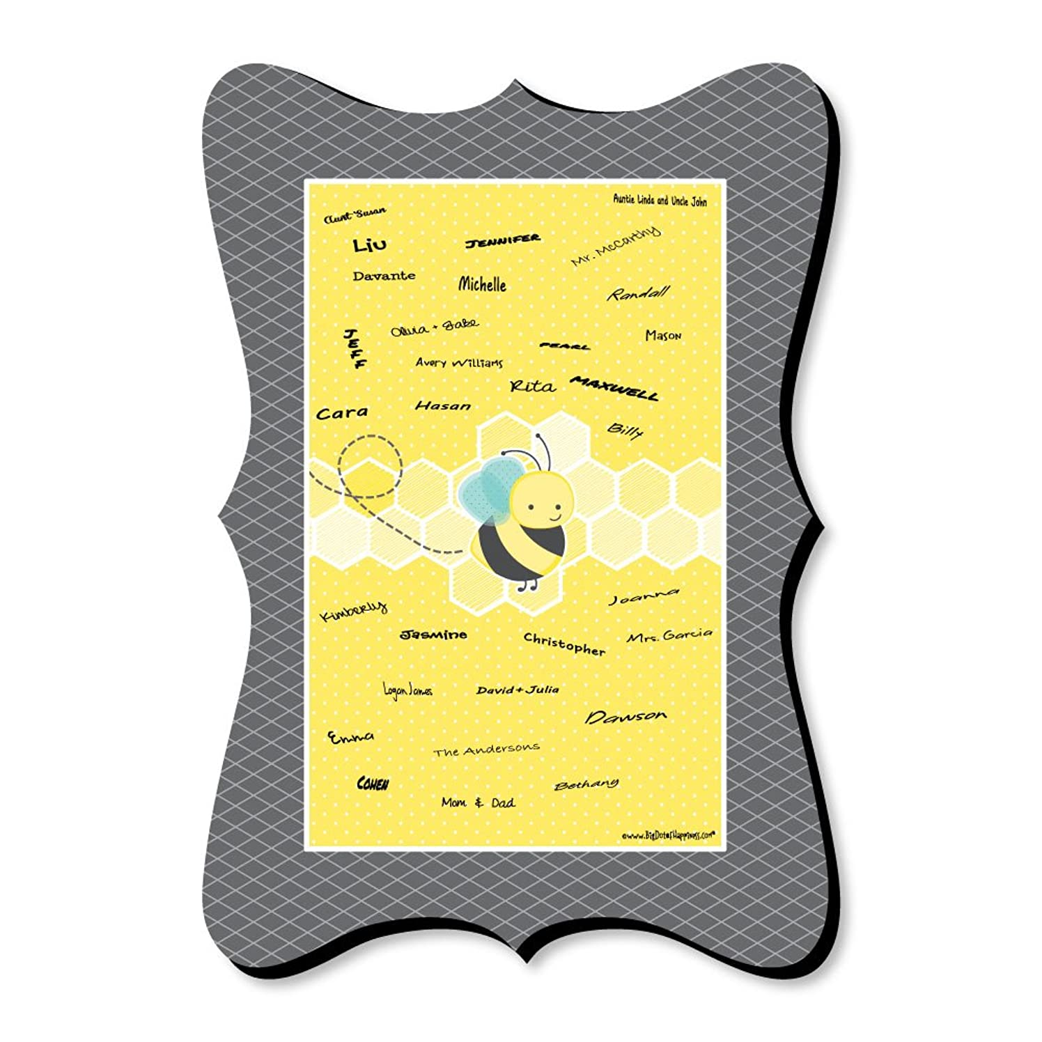 Honey Bee - Unique Alternative Guest Book - Baby Shower or Birthday Party Signature Mat