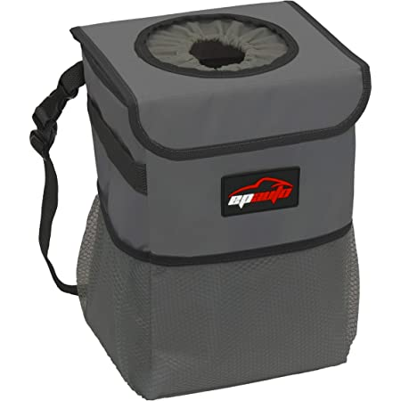 EPAuto Waterproof Car Trash Can with Lid and Storage Pockets, Dark Grey