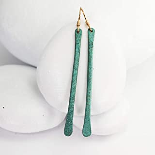 Blue Patina Aged Earrings, 2.75 Inches, Hammered Bronze Earrings with Turquoise Patina