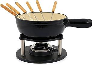 BBQ-Toro set de fondue de hierro fundido para 6 personas set de fondue 9 piezas con quemador y tenedor cantidad de llenado 2 litros de queso de inducción de chocolate (Negro/Cerma Emoliente)