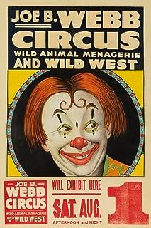 Joe B Webb Circus (clown face) Vintage Poster USA c. 1936 62995 (12x18 SIGNED Print Master Art Print - Wall Decor Poster)
