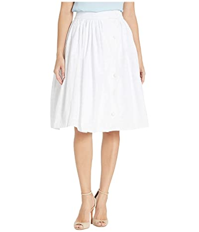 Unique Vintage Gingham Scalloped Button Romero Swing Skirt (White) Women