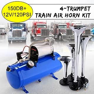 150DB Super Loud Train Horns Kit for Trucks, 4 Air Horn Trumpet for Car Truck Train Van Boat, with 120 Psi 12V Compressor and Gauge
