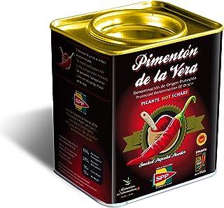 Pimentón de la Vera Ahumado, Picante en Lata de 370 g, Producto con la Denominación de Origen Protegida D.O.P. Condimento Apto para Celíacos.