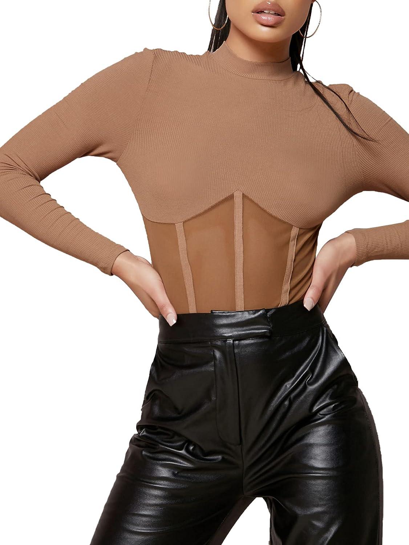 SheIn Women's Stand Collar Long Sleeve Mesh Insert Leotard Top Bodysuit Jumpsuit