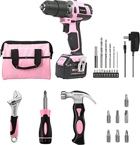high quality WORKPRO outlet sale Pink Cordless 20V Lithium-ion Drill outlet sale Driver Set+3-piece Household Tools Set sale