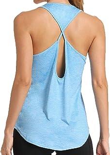 بلايز نسائية رياضية بدون أكمام رياضية للنساء من 8 قطع ( اللون: أزرق سماوي، المقاس: كبير)