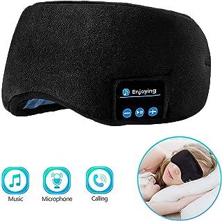 Bluetooth Sleeping Eye Mask Sleep Headphones, Joseche Wireless Bluetooth Headphones Music Travel Sleeping Headset 4.2 Bluetooth Handsfree Sleep Eye Shades Built-in Speakers Microphone Washable