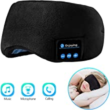 Bluetooth Sleeping Eye Mask Sleep Headphones, Joseche Wireless Bluetooth Headphones Music Travel Sleeping Headset 5.0 Bluetooth Handsfree Sleep Eye Shades Built-in Speakers Microphone Washable (Black)
