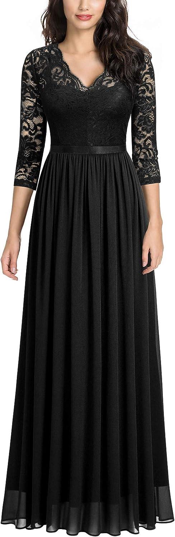 MISSMAY Women's Vintage Floral Lace V Neck Evening Bridesmaid Formal Long Dress
