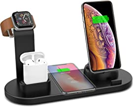 Yestan Wireless Charger 4 in 1 Wireless Charging Dock Compatible with Apple Watch 5 and Airpods Charging Station Fast Wireless Charging Stand for iPhone 11 11 Pro X XS XR Xs Max 8 8 PlusDeep Black