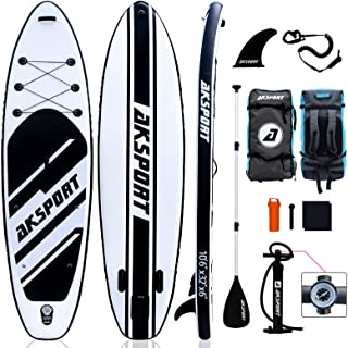 """AKSPORT 10'6""""×32""""×6"""" Inflatable Stand Up Paddle Board with Premium Non-Slip Deck,Travel Backpack,Adjustable Paddle,Pump,Le..."""