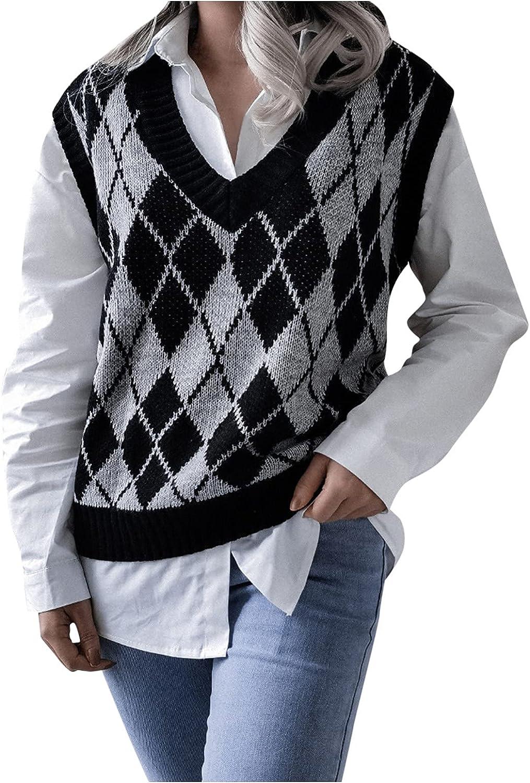 Women Sweater Vest Autumn Stylish Vintage Geometric Argyle V Neck Sleeveless Pullover Knit Tops School Uniform Sweaters