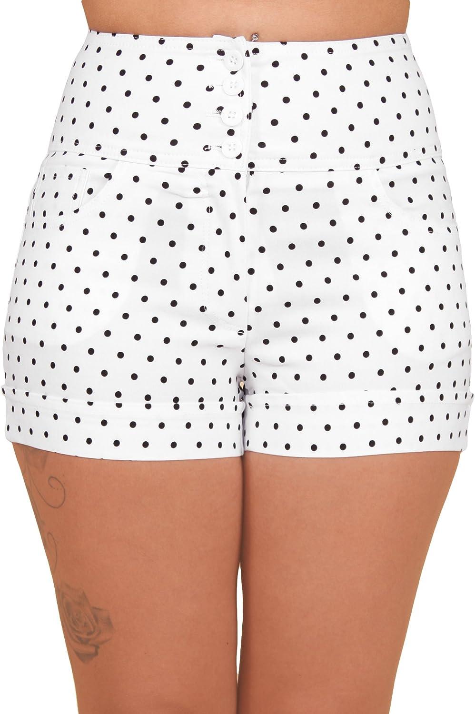 Sidecca Retro 4 Button Sailor High Waist Cuffed Shorts