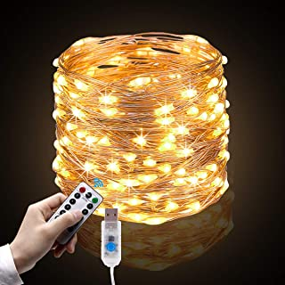 Cadena de Luces, 10m 100 LEDs Guirnalda de Luces con 8 Modos, Blanco Cálido con Control Remoto y USB para Decoración de Jardines Fiesta de Navidad y Boda.
