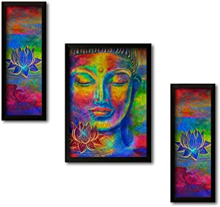 Paper Plane Design Set of 3 Wall Painting with Frames Buddha Painting Wall Art Hanging