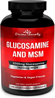 Glucosamine Sulfate Supplement (2000mg per Serving) with MSM - 240 Small Vegetarian Capsules - No Shellfish...