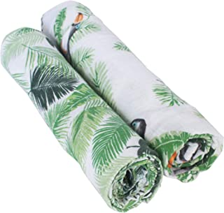 Bebe au Lait Classic Muslin Swaddle Blankets - Rio and Palms, 2 Count