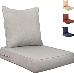 Outdoor/Indoor Deep Seat Cushion Set, Seat and Back 2-Piece, 24