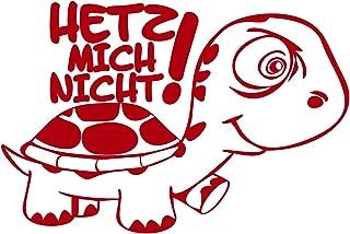 Folistick Hetz Mich Nicht! Turtle Aufkleber Schildkröte Autoaufkleber 24x16 cm Ausführung rechts (ROT)