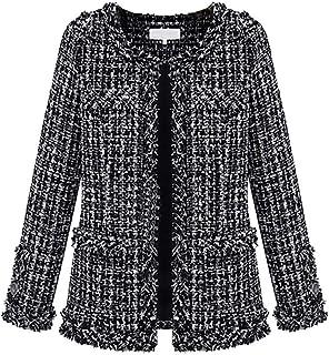 da82521f787 BOLAWOO Manteau Femme Large Casual Classique Carreaux Cardigan Mode Chic  Élégant Printemps Automne Manches Longues Tweed