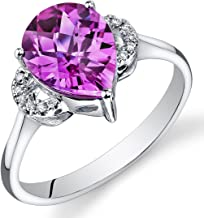 Peora 14K White Gold Pear Created Pink Sapphire Diamond Ring (3.05 cttw)