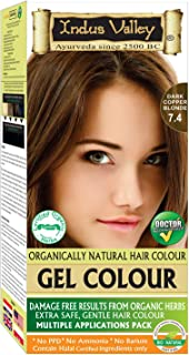Indus Valley Permanent Gel Dark Copper Blonde 7.4 Hair Color For Grey Hair