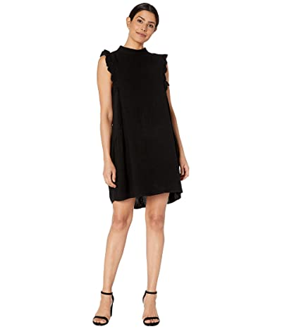 American Rose Julia Sleeveless Dress with Ruffle Detail (Black) Women
