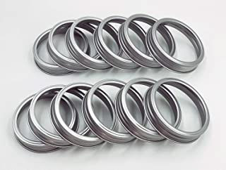 Rust Resistant Silver Mason Jar Replacement Rings or Tops Durable & Rustproof Aluminum Metal Bands/Rings for Mason Ball Canning Jars,Dishwasher Safe and BPA Free (Pack of 12,Regular Mouth)