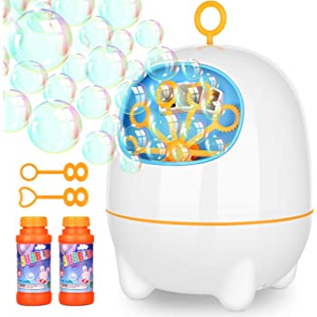 Victostar Bubble Machine, Automatic Bubble Machine Two Bubbles Blowing Speed Levels for Outdoor Indoor,USB Charging (Q Shape Bubble Machine)
