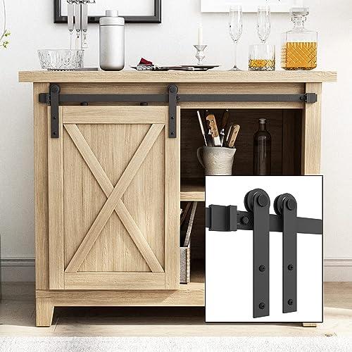 "2021 SMARTSTANDARD 3FT Super Mini Cabinet Sliding Barn Door Hardware Kit -Smoothly and Quietly -for TV Stand, Closet, Window outlet online sale -Fit 18"" Wide online Door Panel -I Shape Hanger (NO Cabinet) outlet sale"