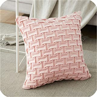Velvet Soft Throws Pillows Geometr Decor Pillow Cushion Covers Elegant Square Pillowcase for Sofa Bed Car Home,45cmx45cm(18x18in),Pink