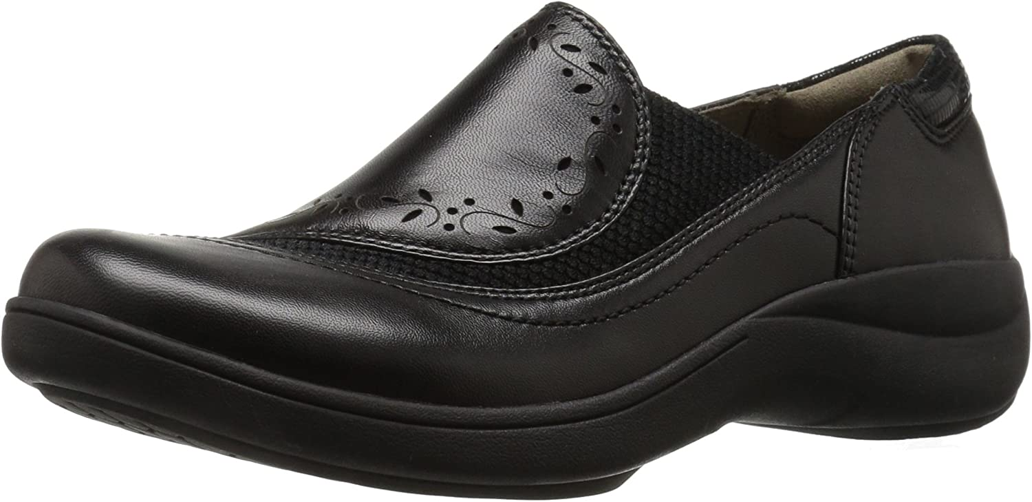 Aravon Women's Revsolace Flat, Black Smooth, 6.5 D US