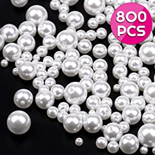 Pearl Beads, Anezus 800pcs Ivory Craft Loose Pearls Glass Beads for Jewelry Making, Crafts, Decoration and Vase Filler (Assorted Sizes)