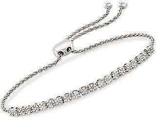 0.50 ct. t.w. Diamond Cluster Bolo Bracelet in Sterling Silver