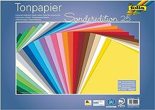 Folia- Lot Feuilles de Papier de 50 x 70 cm Environ 130 g/m² Assorties en 25 Couleurs pour Loisirs créatifs, création de C...