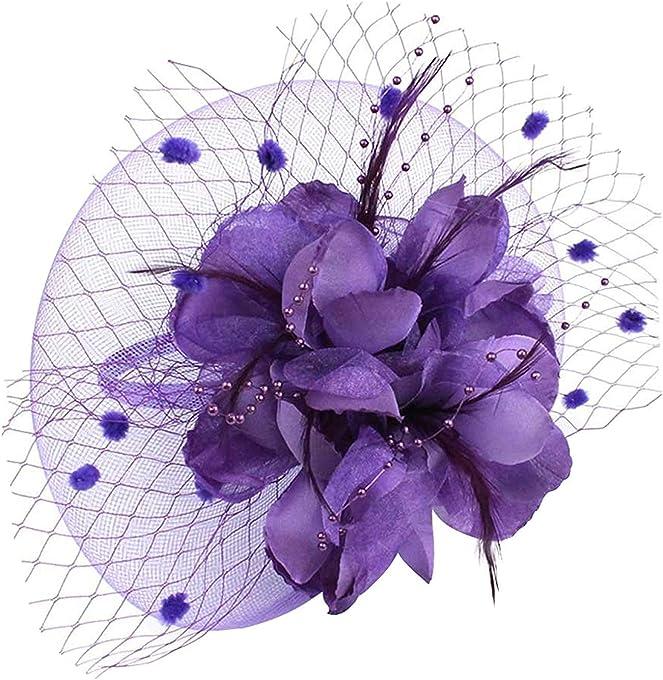 VACIGODEN Charming Big Flower Headband Netting Mesh Hair Band Cocktail Party Fascinator Black