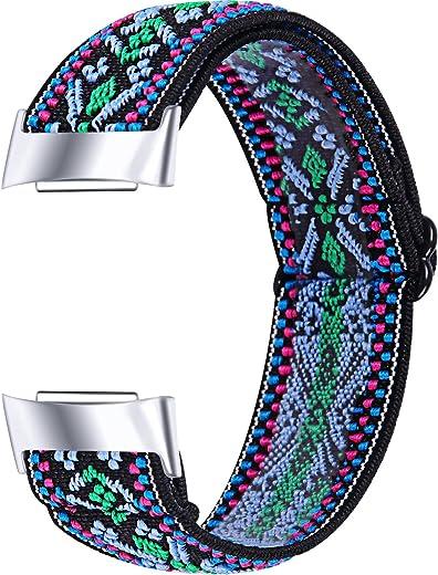 Chofit Armband compatibel met Fitbit Charge 5 bandjes, geweven nylon elastische armbanden, waterdichte vervanging voor Charge 5 Activity Tracker
