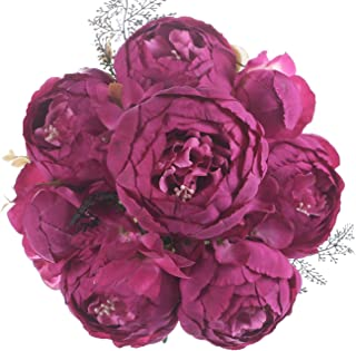 Jyi Hope Vintage Artificial Peony Silk Fake Flowers Faux Peonies Bouquet for Home Wedding Party Farmhouse Table Centerpiece Decoration (Spring Hot Pink)