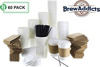 JUMBO Pack White Coffee Cups   White Insulated Disposable Hot Cups with Lids, Sleeves & Stirrers for Tea, Chocolate   Perfect for To-Go Travel Mug, Parties and More   Size 12 Ounce   60 Count