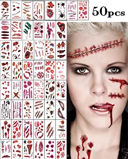 50pcs Horror Realistic Fake Bloody Wound Stitch Scar Scab Waterproof Temporary Tattoo Sticker Halloween Masquerade Prank M...