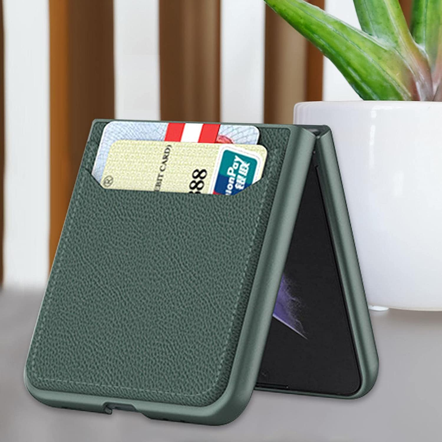 Phone Case for Samsung Galaxy Z Flip 3 5G   Foldable Premium Thin PU Leather Hard PC Slim Phone Case   Durable Anti-Scratch Protective Case Cover for Galaxy Z Flip 3 5G 2021