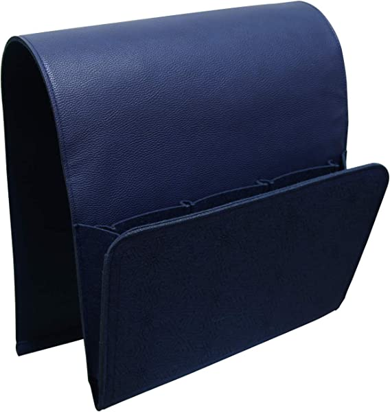 Dealingealing 防滑沙发沙发椅躺椅扶手组织者扶手椅 Caddy 带 5 个口袋,可用于存放手机杂志、书籍、 Ipad 遥控器支架、耐用的毛毡皮革海军