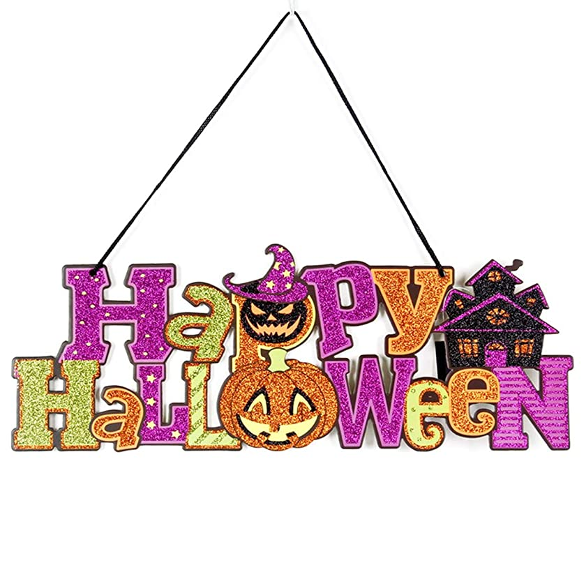 EVAIL Happy Halloween Hanging Sign Decoration Glitter Halloween Pumpkin Party Wall Sign Door Window Decorations Haunted House Yard Party Supplies Decor