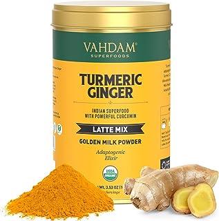 VAHDAM, Organic Gurkmeja + Ginger Latte, 40 koppar (3,53 oz) | USDA Organic Certified Golden mjölkspulver med kraftfull Cu...
